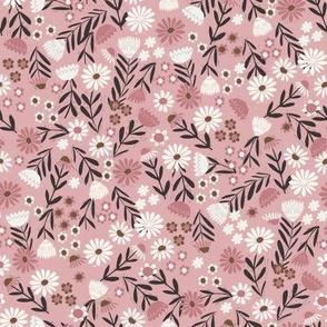 folk flower fabric - dainty feminine flowers - sfx1611 powder pink