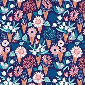 Tiny scale // Midsummer I scream flower cones // navy blue background pink coral and aqua and teal flowers bouquets