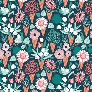 Tiny scale // Midsummer I scream flower cones // green background green aqua pink and coral flowers bouquets
