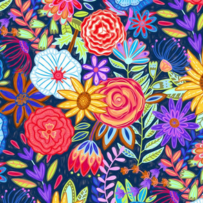 Funky Festive Floral (Large Scale)