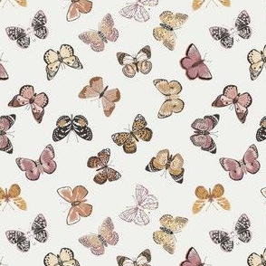 MINI - butterflies fabric - baby bedding, baby girl fabric, baby fabric, nursery fabric, butterflies fabric, muted colors fabric, earth toned fabric -  off white