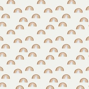 SMALL Scattered Rainbows Fabric - mist rose oak leaf pecan || Earth toned rainbows fabric || Rainbow Baby kids bedding