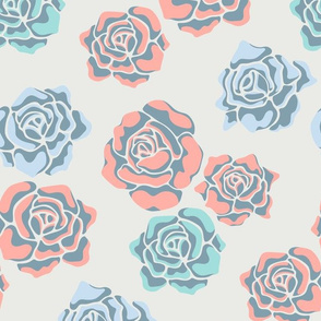 Rose-Coloured Floral in Blue Coral and Green - UnBlink Studio by Jackie Tahara