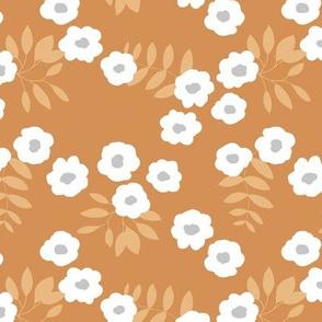 Buttercup daisies boho garden summer cinnamon brown ochre yellow