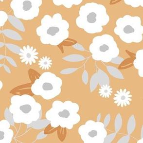 Daisies and lillies boho garden summer gray brown ochre yellow