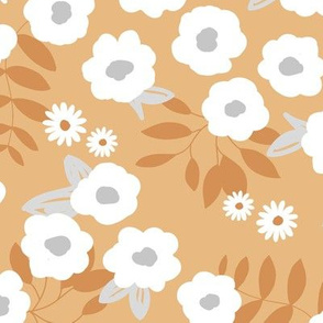 Daisies and lillies boho garden summer cinnamon brown ochre yellow