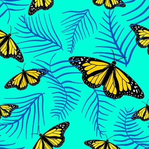 yellow butterflies in blue