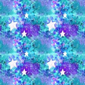 Aqua Blue Watercolor White Stars