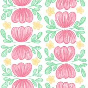 Pink Flowers Floral in Rows // hand drawn pink spring flowers fabric wallpaper