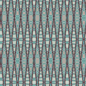 Small - Smocked Geometric Trellis in Turquoise and Muted Burgundy - Lengthwise