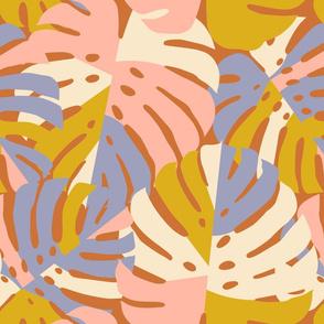 Monstera Leaves in Pink + Lavendar