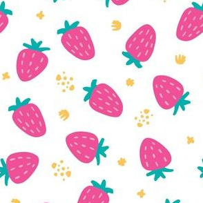 Cute Simple Strawberry Illustration Pink White Teal Yellow