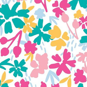 Bold Colorful Abstract Field of Flowers in pink, teal, yellow