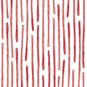 crayon vertical stripes - cranberry red on white