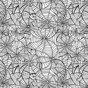 SMALL spiderweb fabric - black and white halloween design - white