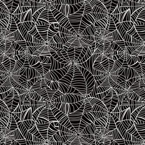SMALL spiderweb fabric - black and white halloween design - black