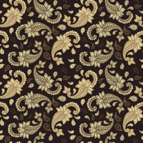 Paisley Golden on Dark Beige