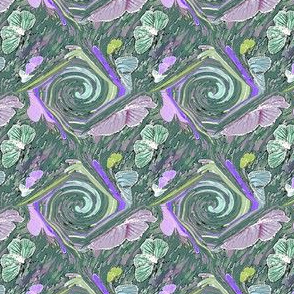 Hand Drawn Butterfly Medallions in Lavender and Green