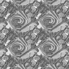 Hand Drawn Butterfly Medallions in Grey Tones - small