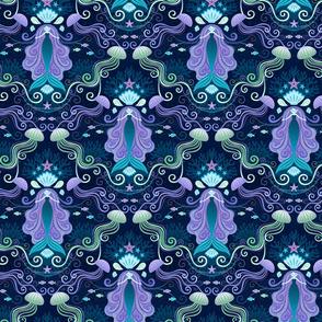 Meditating Mermaid Damask  Bioluminescence Small