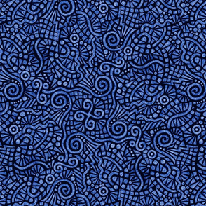 batik doodles in royal blue