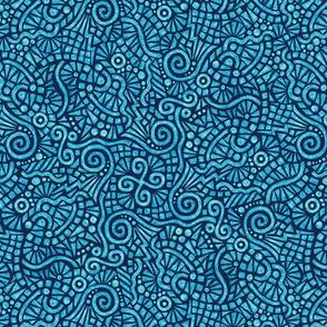 batik doodles in bright blue