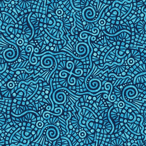 batik doodles in bright blue