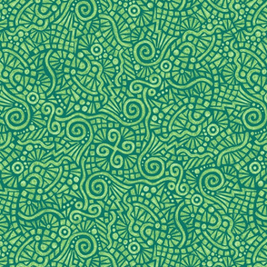 batik doodles in serene green