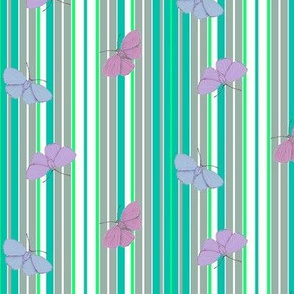 Hand Drawn Holly Blue Butterflies on Mint Julep Stripes