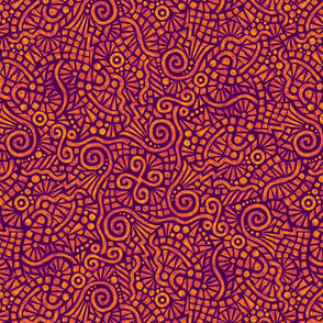 batik doodles in yellow and orange on purple