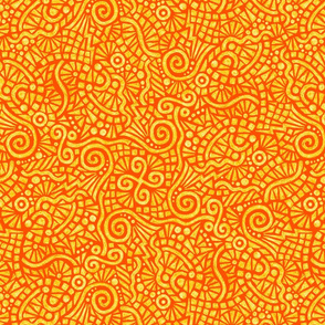 batik doodles in solar orange