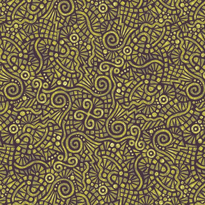 batik doodles in midsummer gold on purple dusk