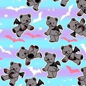 Pastel goth vampire bears on stripes
