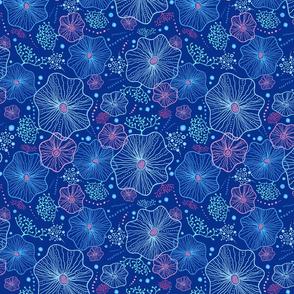 Underwater nature doodle- blue