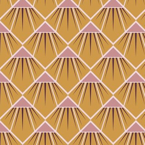Art Deco Flower - Mustard and Pink-Smaller