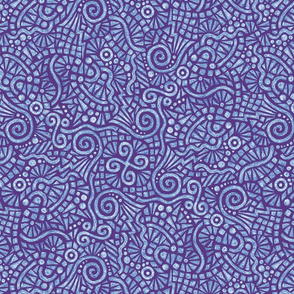 batik doodles in blue and white on purple