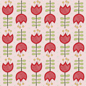red tulips on light pink, medium scale