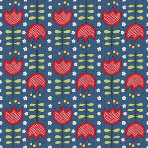 red retro tulips on blue, medium scale