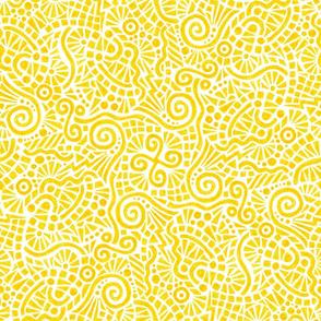 crayon doodles in yellow