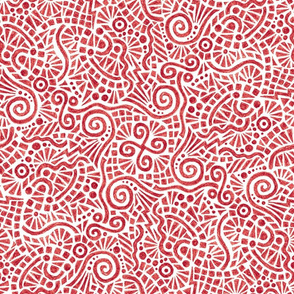 crayon doodles in cranberry red
