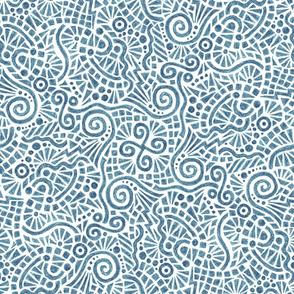 crayon doodles in navy blue
