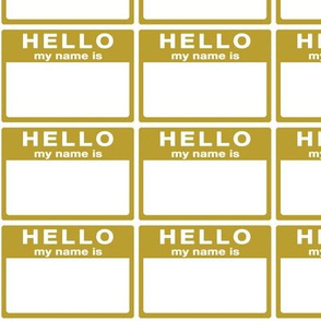 cut-and-sew 'Hello my name is' labels in a grid - mustard