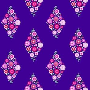 floral diamond on purple sky