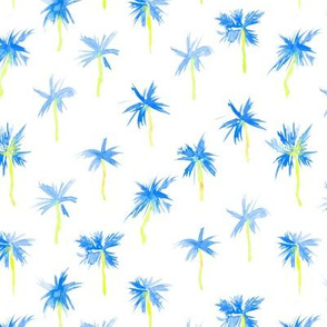 Royal blue Palm d'Azur - watercolor palms for beach and summer
