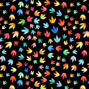 Rainbow dinos footprints on black - medium scale