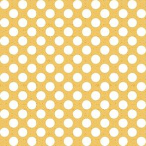 big white polka dots on yellow, medium scale