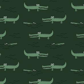 Little sweet crocodile baby alligator jungle love zoo illustration gender neutral green winter SMALL