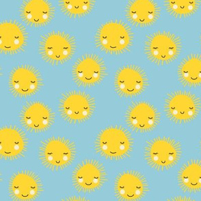 Sweet sunny kawaii sky smiling sleepy sun in yellow and blue SMALL