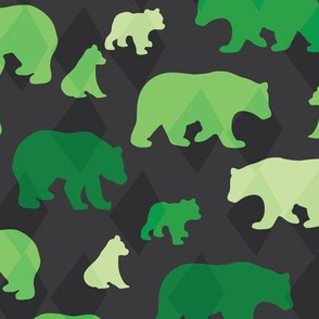 Bears & Cubs - Green, Charcoal - Medium