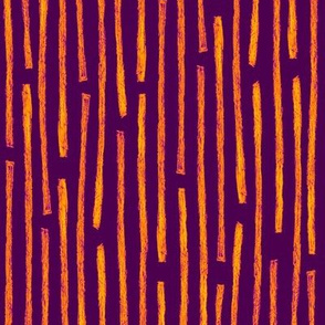 batik vertical stripes - orange on purple